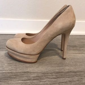BCBG MaxAzria tan suede platform high heels, 7.5